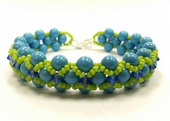 Cross-weave, Embellished Beadwork Bracelet Jewellery Making Kit with SWAROVSKI® ELEMENTS Turquoise and Lime